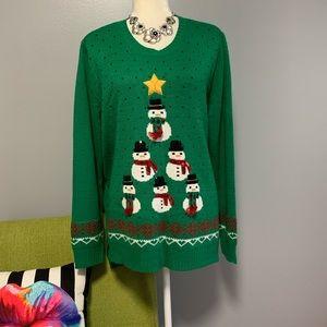 HolidayTime Snowman Tree Ugly Christmas Sweater B6